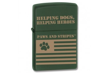"Zippo Paws and Stripes ""Helping Dogs, Helping Heroes"" Green Matte Lighter"