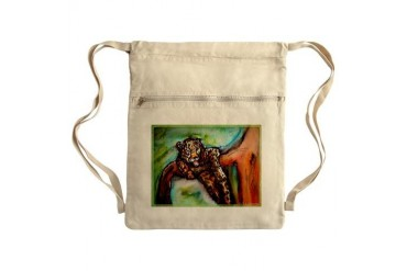 Leopard Wildlife art Sack Pack Art Cinch Sack by CafePress