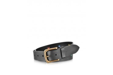 Black Leather Hand Stitch Men's Belt