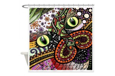 Cat Ink- Colour Animal Shower Curtain by CafePress