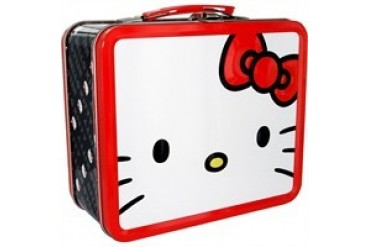 Hello Kitty Face Red Bow Metal Lunch Box