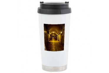 oldcitystreetgreenlight.jpg Travel Ceramic Travel Mug by CafePress