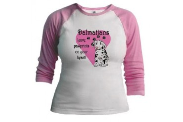 Dalmatian Pawprints Pets Jr. Raglan by CafePress