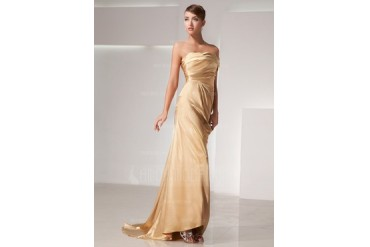Sheath/Column One-Shoulder Sweep Train Charmeuse Evening Dress With Ruffle (017014438)