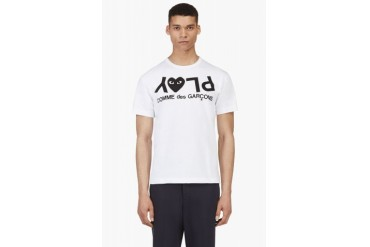 Comme Des Garons Play White Play Logo T shirt