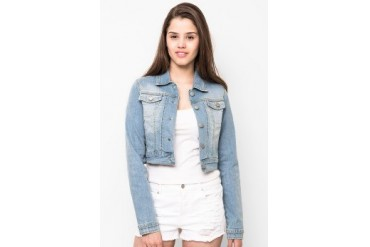 sophistix Peach Cropped Denim Jacket In Light Blue