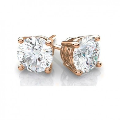 14k Rose Gold Round Cubic Zirconia Stud Earrings 4mm 8mm