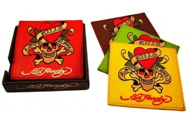Set Of 4 Ed Hardy Love Kills Slowly Leather Coasters