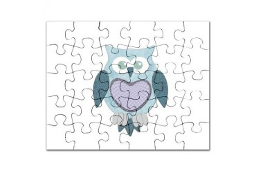 Blue Winter Owl Animal Puzzle by CafePress
