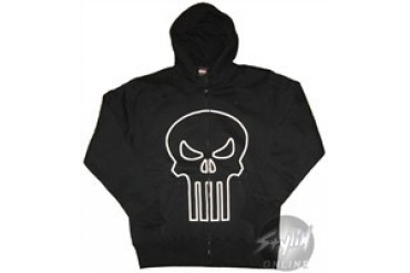 Marvel Comics Punisher Outline Logo Full Zipper Hooded Sweatshirt