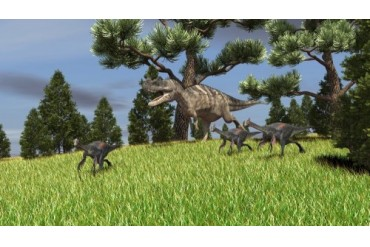 Ceratosaurus chasing a group of Gigantoraptors.