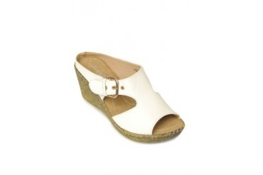 White Beatrice Wedges Slide
