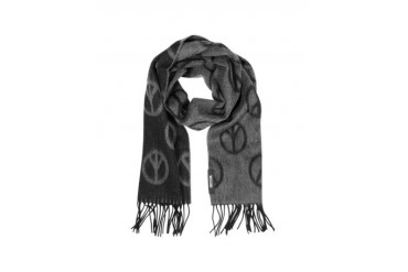 Peace Sign Print Wool Scarf