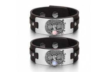 Tree of Life Celtic Love Couples PSky Blue Cats Eye Brown Leather Bracelets