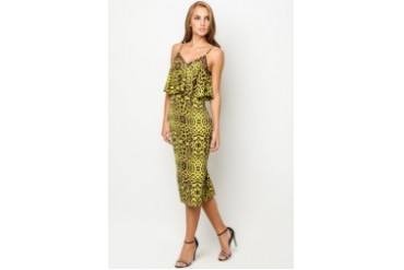 RIVER ISLAND Lime Animal Print Layered Midi Slip Dress