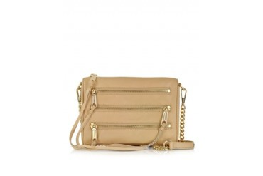 Mini 5 Zip Biscuit Leather Clutch w/Shoulder Strap