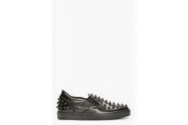 Valentino Black Leather Studded Slip on Shoes