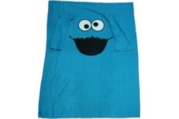 Sesame Street Cookie Monster Face Sleeved Blanket