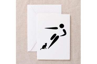 Kick Cat Funny Greeting Card by CafePress