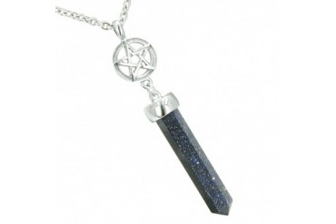 Magic Energy Star Pentagram Amulet Crystal Point Goldstone 18 Inch Necklace