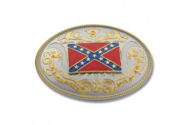 Buckle Shack Extra Large Two Tone Confederate Flag Belt Buckle