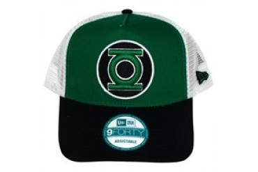 DC Comics Green Lantern Logo on Front and Mesh Embroidered Snap Closure Mesh Hat
