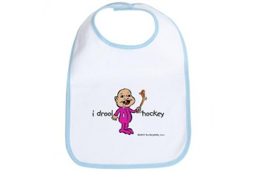 I Drool Hockey - Pink Baby Bib by CafePress
