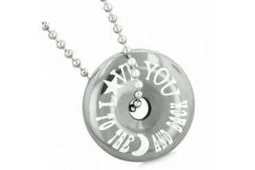 Love You to the Moon Back Amulet Lucky Coin Donut Hematite 18 Inch Necklace