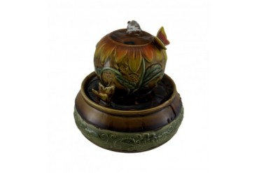 Ceramic Ball Tabletop Fountain w Butterfly Accent