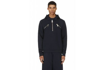 Christopher Kane Navy Zippered Hooded Sweater