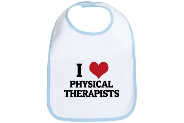 I Love Physical Therapists Occupations Bib by CafePress