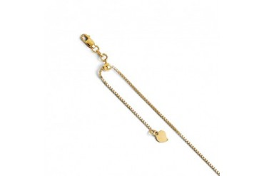 1 mm Adjustable Box Chain Necklace in 14K Yellow Gold