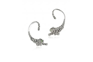 Tiger Cuff Earrings w/Crystals