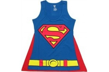 DC Comics Superman Supergirl Costume Velcro Cape Racer Tank Top Baby Doll Tee