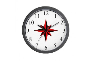 - Compass Rose - Red Office Wall Clock by CafePress