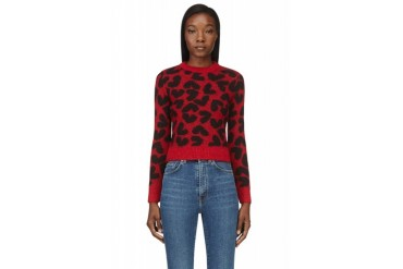 Saint Laurent Red And Black Heart Print Sweater