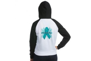 Peritoneal Cancer Flourish Cancer awareness Women's Raglan Hoodie by CafePress