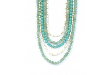Rachel Reinhardt Aventurine and Jade 5 Row Necklace Multi
