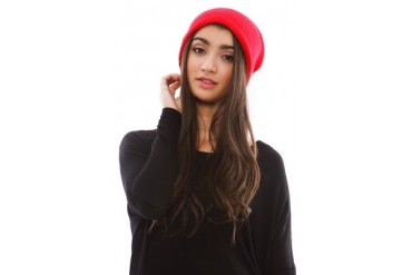 Barca Slouchy Hat with Fleece Lining in Red - designed by Plush