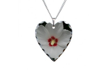 Lovely Rose of Sharon Tree Necklace Heart Charm by CafePress