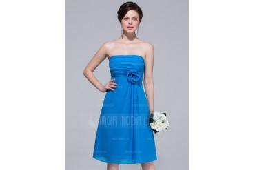 A-Line/Princess Strapless Knee-Length Chiffon Bridesmaid Dress (007037295)