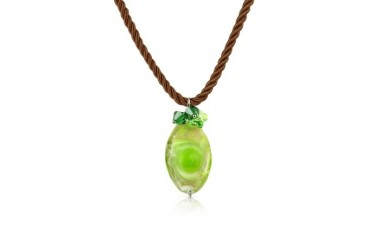 Vortice - Lime Murano Glass Swirling Drop Necklace