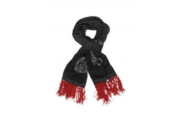 Embroidered Black Wool Long Scarf