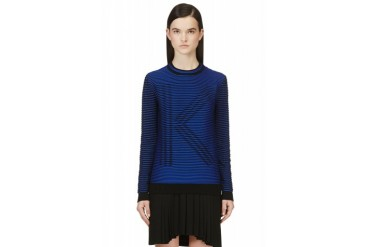 Kenzo Blue And Black Ribbed K Sweater