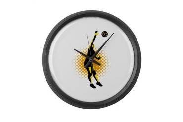 Volleyball Player Spiking Ball Retro Large Wall Cl Retro Large Wall Clock by CafePress