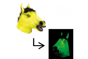 Yellow Blacklight Glowing Horse Halloween Mask