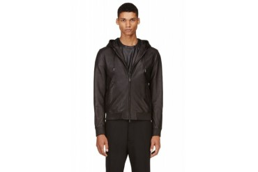 Dsquared2 Black Hooded Leather Jacket
