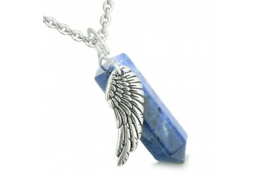 Amulet Angel Wing Magic Wand Crystal Sodalite Healing and 22 Inch Necklace