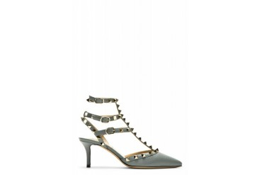 Valentino Grey Leather Rockstud Strapped Heels