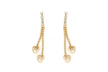 Gold and Crystal Double Heart Drop Earrings